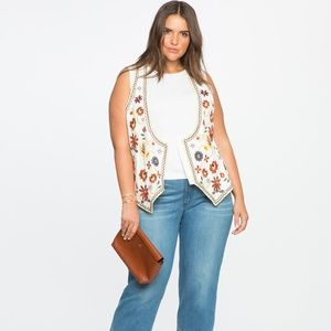 Eloquii Embroidered 70s Style Hippie Vest Size 24